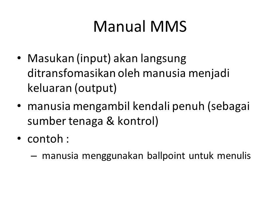 Manual MMS Masukan (input) akan langsung ditransfomasikan oleh manusia menjadi keluaran (output) manusia mengambil kendali penuh (sebagai sumber tenaga & kontrol) contoh : – manusia menggunakan ballpoint untuk menulis