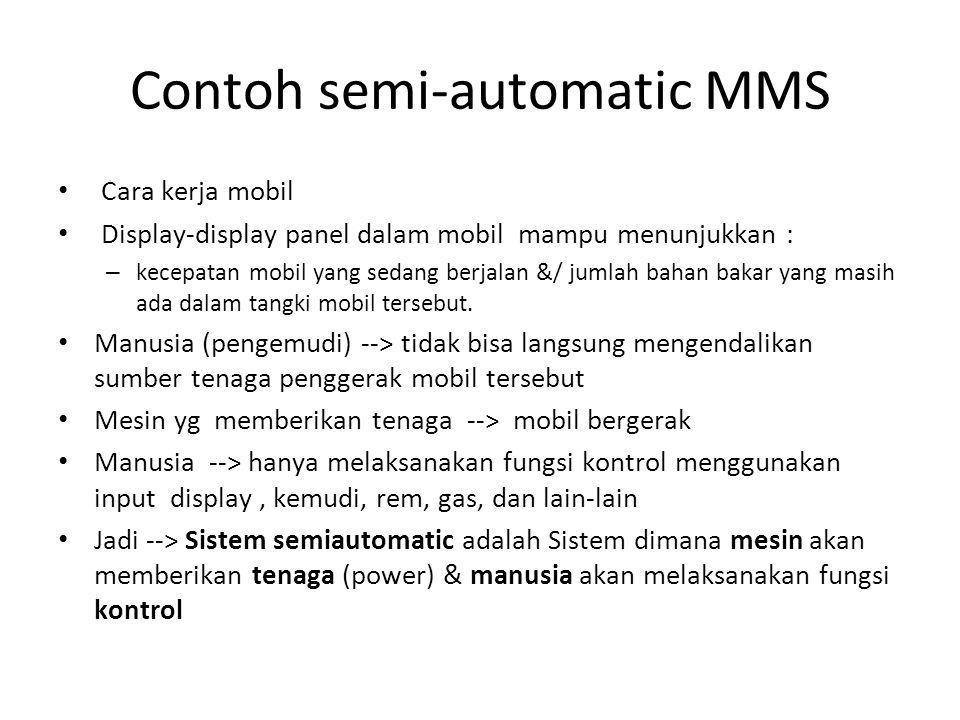 Contoh semi-automatic MMS Cara kerja mobil Display-display panel dalam mobil mampu menunjukkan : – kecepatan mobil yang sedang berjalan &/ jumlah bahan bakar yang masih ada dalam tangki mobil tersebut.