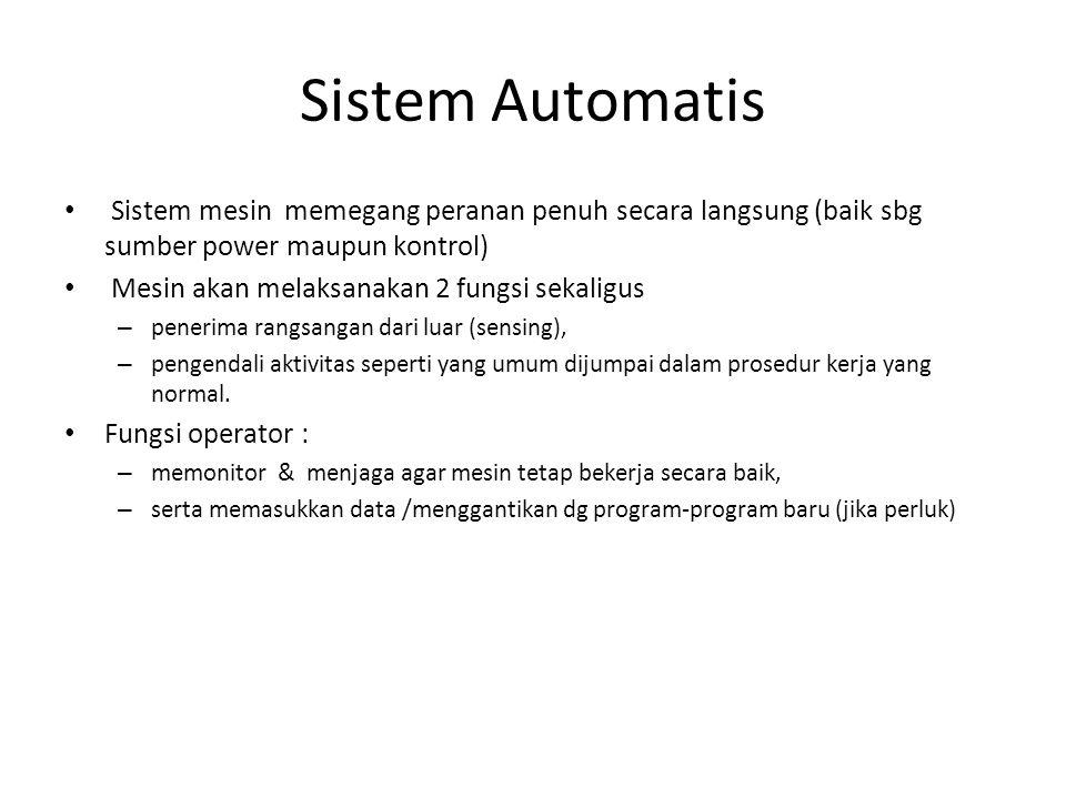 Sistem Automatis Sistem mesin memegang peranan penuh secara langsung (baik sbg sumber power maupun kontrol) Mesin akan melaksanakan 2 fungsi sekaligus – penerima rangsangan dari luar (sensing), – pengendali aktivitas seperti yang umum dijumpai dalam prosedur kerja yang normal.