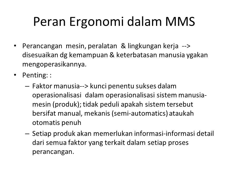 Peran Ergonomi dalam MMS Perancangan mesin, peralatan & lingkungan kerja --> disesuaikan dg kemampuan & keterbatasan manusia ygakan mengoperasikannya.