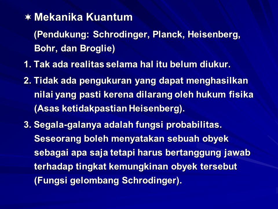  Mekanika Kuantum (Pendukung: Schrodinger, Planck, Heisenberg, Bohr, dan Broglie) (Pendukung: Schrodinger, Planck, Heisenberg, Bohr, dan Broglie) 1.