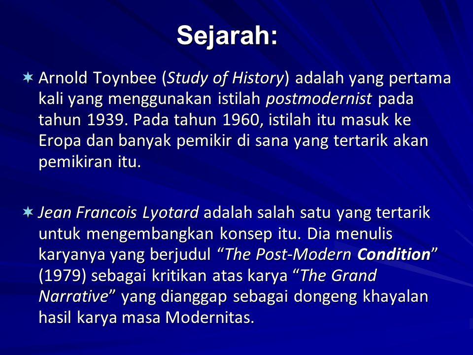 Sejarah:  Arnold Toynbee (Study of History) adalah yang pertama kali yang menggunakan istilah postmodernist pada tahun 1939. Pada tahun 1960, istilah