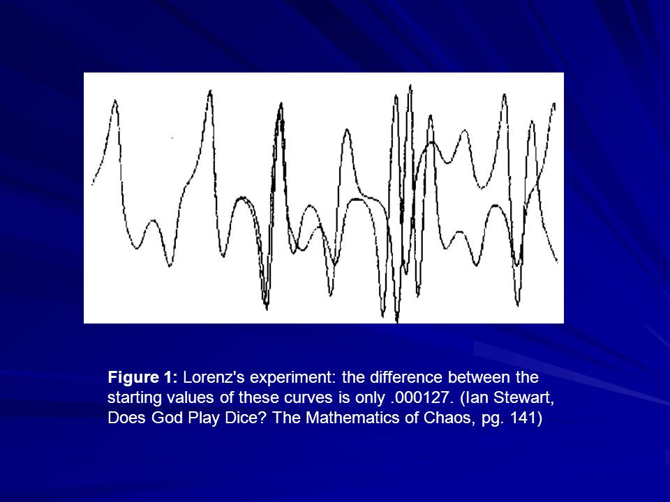 Figure 1: Lorenz's experiment: the difference between the starting values of these curves is only.000127. (Ian Stewart, Does God Play Dice? The Mathem