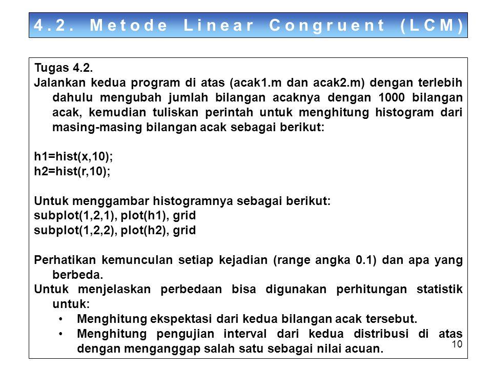 10 4.2. Metode Linear Congruent (LCM) Tugas 4.2. Jalankan kedua program di atas (acak1.m dan acak2.m) dengan terlebih dahulu mengubah jumlah bilangan