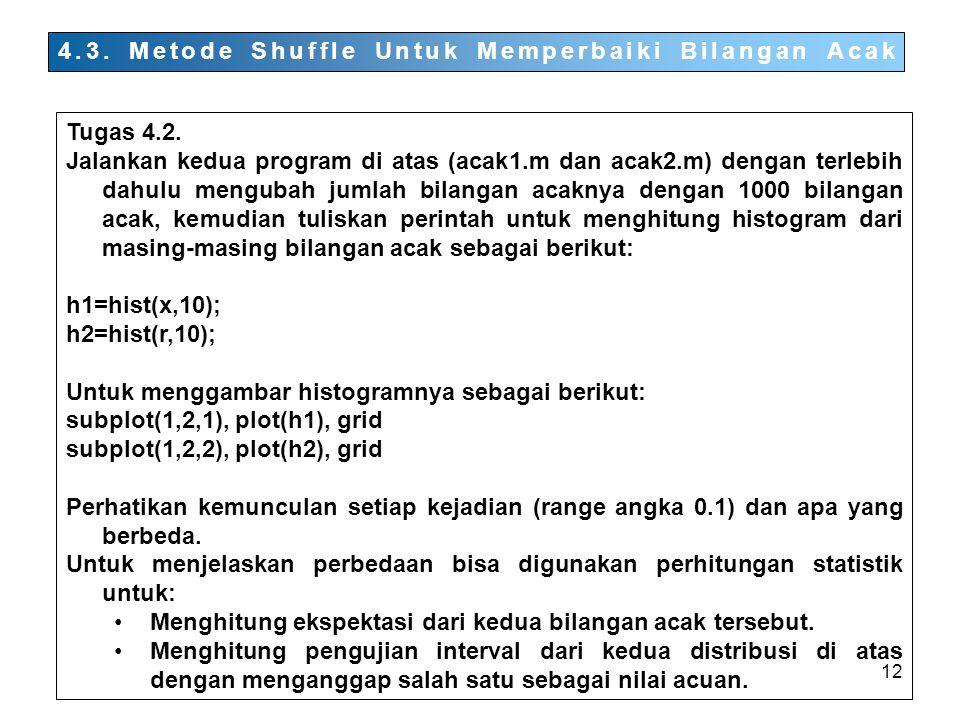 12 4.3.Metode Shuffle Untuk Memperbaiki Bilangan Acak Tugas 4.2.