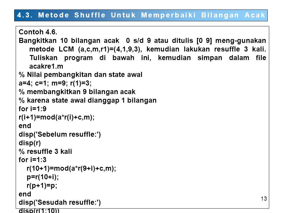 13 4.3.Metode Shuffle Untuk Memperbaiki Bilangan Acak Contoh 4.6.