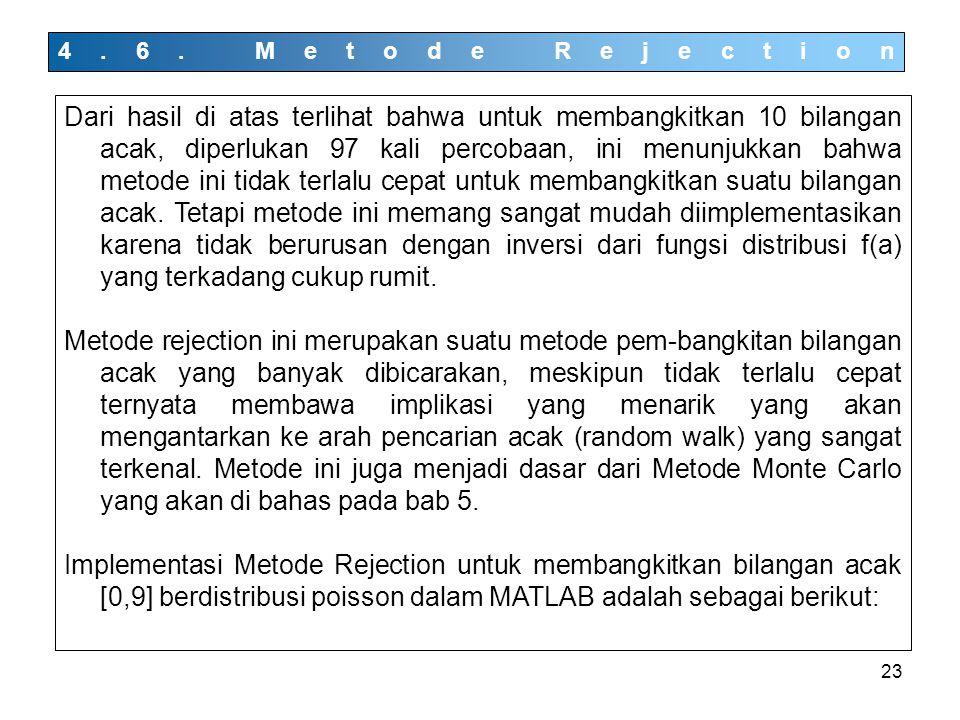 23 4.6. Metode Rejection Dari hasil di atas terlihat bahwa untuk membangkitkan 10 bilangan acak, diperlukan 97 kali percobaan, ini menunjukkan bahwa m
