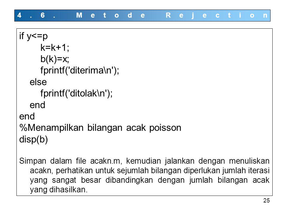 25 4.6. Metode Rejection if y<=p k=k+1; b(k)=x; fprintf('diterima\n'); else fprintf('ditolak\n'); end %Menampilkan bilangan acak poisson disp(b) Simpa