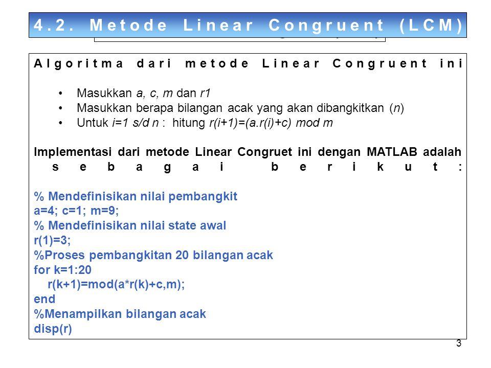3 Algoritma dari metode Linear Congruent ini Masukkan a, c, m dan r1 Masukkan berapa bilangan acak yang akan dibangkitkan (n) Untuk i=1 s/d n : hitung r(i+1)=(a.r(i)+c) mod m Implementasi dari metode Linear Congruet ini dengan MATLAB adalah sebagai berikut: % Mendefinisikan nilai pembangkit a=4; c=1; m=9; % Mendefinisikan nilai state awal r(1)=3; %Proses pembangkitan 20 bilangan acak for k=1:20 r(k+1)=mod(a*r(k)+c,m); end %Menampilkan bilangan acak disp(r) 4.2.