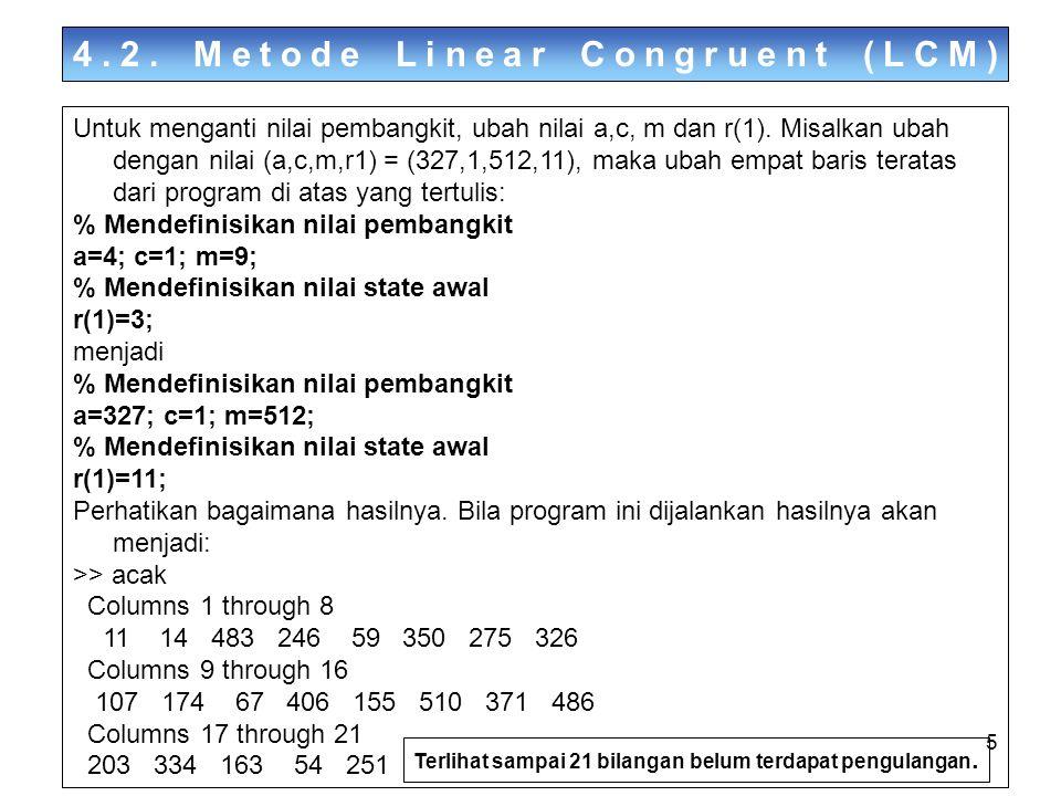16 4.4.Membangkitkan Bilangan Acak Berdistribusi Non-Uniform Implementasi dengan menggunakan MATLAB untuk mem-bangkitkan 10 bilangan acak berdistribusi f(a) adalah sebagai berikut: Bangkitkan 1000 bilangan acak uniform sebagai berikut: >> a=rand(1,1000) a = Columns 1 through 5 0.7382 0.1763 0.4057 0.9355 0.9169 Columns 6 through 10 0.4103 0.8936 0.0579 0.3529 0.8132 Gunakan fungsi a = -ln(y)/2 untuk membangkitkan bilangan acak eksponensial.