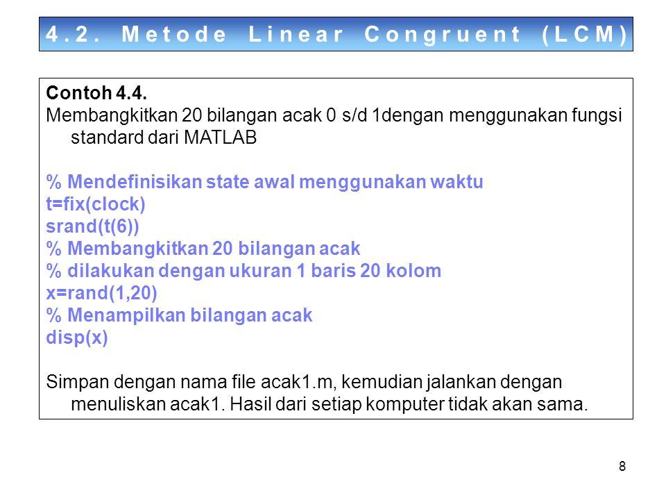 19 4.5.Membangkitkan Bilangan Acak Berdistribusi Poisson Contoh 4.9.