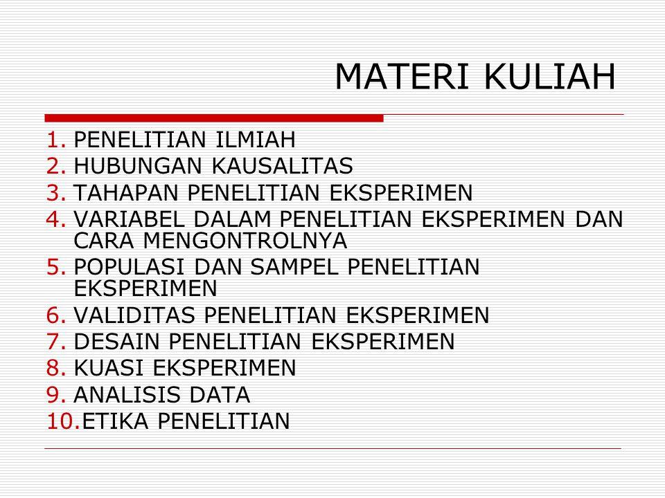 MATERI KULIAH 1.PENELITIAN ILMIAH 2.HUBUNGAN KAUSALITAS 3.TAHAPAN PENELITIAN EKSPERIMEN 4.VARIABEL DALAM PENELITIAN EKSPERIMEN DAN CARA MENGONTROLNYA 5.POPULASI DAN SAMPEL PENELITIAN EKSPERIMEN 6.VALIDITAS PENELITIAN EKSPERIMEN 7.DESAIN PENELITIAN EKSPERIMEN 8.KUASI EKSPERIMEN 9.ANALISIS DATA 10.ETIKA PENELITIAN