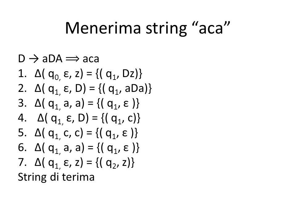 Menerima string aca D → aDA aca 1.Δ( q 0, ε, z) = {( q 1, Dz)} 2.Δ( q 1, ε, D) = {( q 1, aDa)} 3.Δ( q 1, a, a) = {( q 1, ε )} 4.