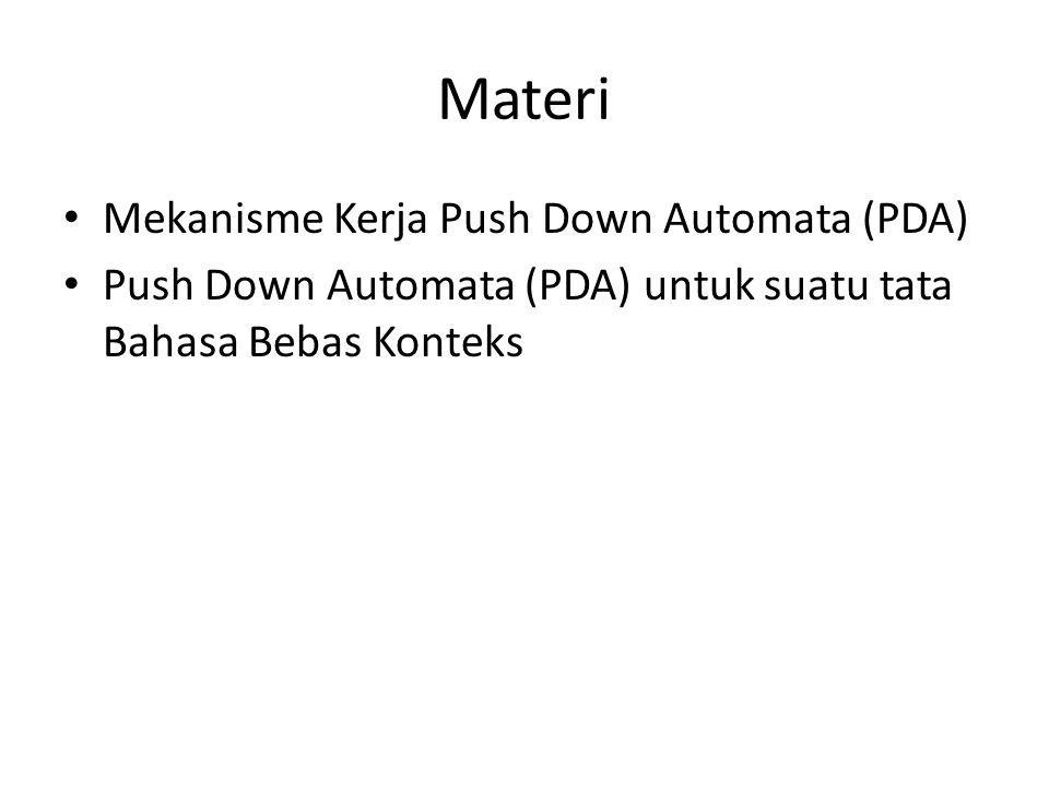 Mekanisme Kerja Push Down Automata (PDA) Agar dapat menggunakan model automata pada bahasa context free, maka diperlukan: 1.Sebuah stack atau memori push down yang dapat menyimpan sederetan simbol dengan panjang yang sebarang dan tak berhingga.