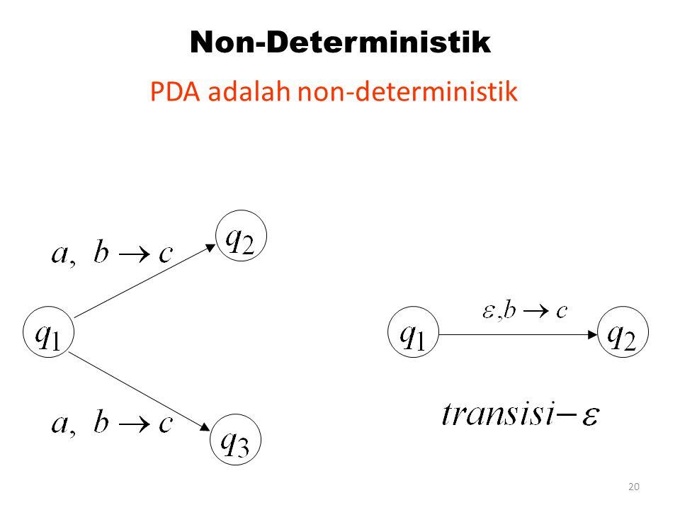 20 Non-Deterministik PDA adalah non-deterministik