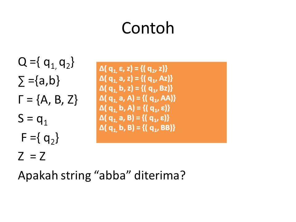 "Contoh Q ={ q 1, q 2 } ∑ ={a,b} Г = {A, B, Z} S = q 1 F ={ q 2 } Z = Z Apakah string ""abba"" diterima? Δ( q 1, ε, z) = {( q 2, z)} Δ( q 1, a, z) = {( q"