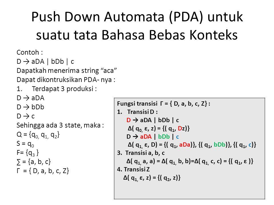 Push Down Automata (PDA) untuk suatu tata Bahasa Bebas Konteks Contoh : D → aDA | bDb | c Dapatkah menerima string aca Dapat dikontruksikan PDA- nya : 1.Terdapat 3 produksi : D → aDA D → bDb D → c Sehingga ada 3 state, maka : Q = {q 0, q 1, q 2 } S = q 0 F= {q 3 } ∑ = {a, b, c} Г = { D, a, b, c, Z} Fungsi transisi Г = { D, a, b, c, Z} : 1.Transisi D : D → aDA | bDb | c Δ( q 0, ε, z) = {( q 1, Dz)} D → aDA | bDb | c Δ( q 1, ε, D) = {( q 1, aDa)}, {( q 1, bDb)}, {( q 1, c)} 3.