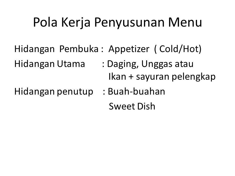 Pola Kerja Penyusunan Menu Hidangan Pembuka : Appetizer ( Cold/Hot) Hidangan Utama : Daging, Unggas atau Ikan + sayuran pelengkap Hidangan penutup : Buah-buahan Sweet Dish