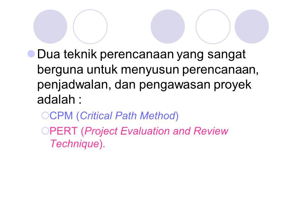 Dua teknik perencanaan yang sangat berguna untuk menyusun perencanaan, penjadwalan, dan pengawasan proyek adalah :  CPM (Critical Path Method)  PERT (Project Evaluation and Review Technique).