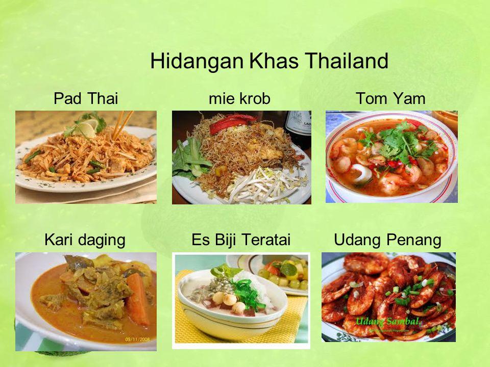 Hidangan Khas Thailand Pad Thaimie krobTom Yam Kari daging Es Biji Teratai Udang Penang