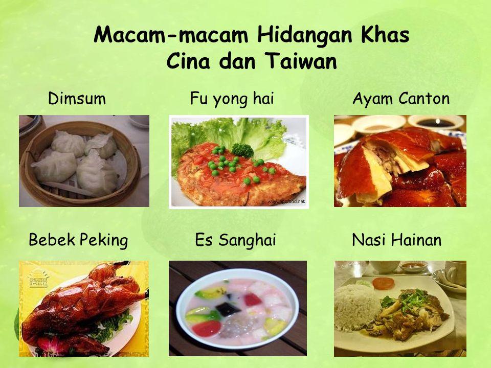 Dimsum Fu yong hai Ayam Canton Bebek Peking Es Sanghai Nasi Hainan Macam-macam Hidangan Khas Cina dan Taiwan