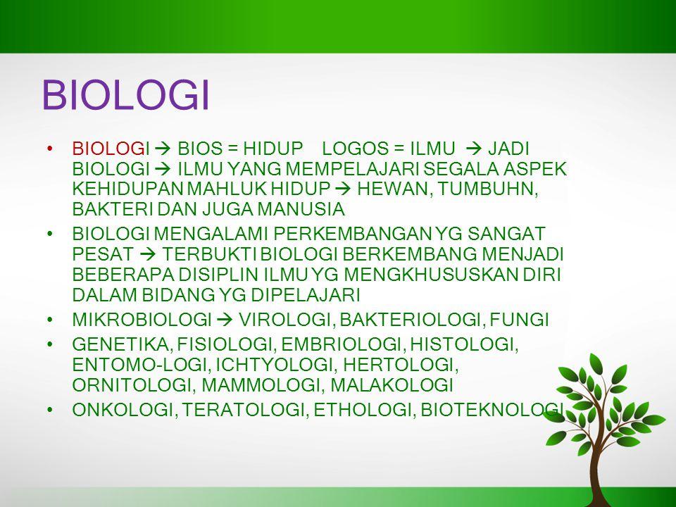 BIOLOGI BIOLOGI  BIOS = HIDUP LOGOS = ILMU  JADI BIOLOGI  ILMU YANG MEMPELAJARI SEGALA ASPEK KEHIDUPAN MAHLUK HIDUP  HEWAN, TUMBUHN, BAKTERI DAN JUGA MANUSIA BIOLOGI MENGALAMI PERKEMBANGAN YG SANGAT PESAT  TERBUKTI BIOLOGI BERKEMBANG MENJADI BEBERAPA DISIPLIN ILMU YG MENGKHUSUSKAN DIRI DALAM BIDANG YG DIPELAJARI MIKROBIOLOGI  VIROLOGI, BAKTERIOLOGI, FUNGI GENETIKA, FISIOLOGI, EMBRIOLOGI, HISTOLOGI, ENTOMO-LOGI, ICHTYOLOGI, HERTOLOGI, ORNITOLOGI, MAMMOLOGI, MALAKOLOGI ONKOLOGI, TERATOLOGI, ETHOLOGI, BIOTEKNOLOGI