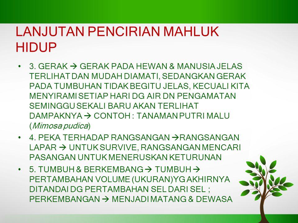 LANJUTAN PENCIRIAN MAHLUK HIDUP 3.