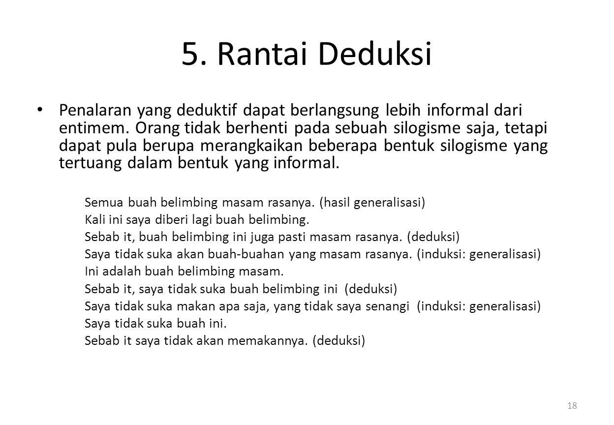 5.Rantai Deduksi Penalaran yang deduktif dapat berlangsung lebih informal dari entimem.