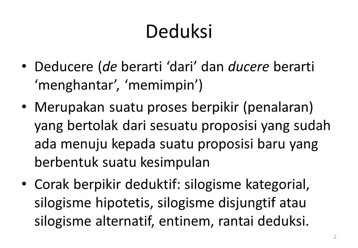Deduksi Deducere (de berarti 'dari' dan ducere berarti 'menghantar', 'memimpin') Merupakan suatu proses berpikir (penalaran) yang bertolak dari sesuatu proposisi yang sudah ada menuju kepada suatu proposisi baru yang berbentuk suatu kesimpulan Corak berpikir deduktif: silogisme kategorial, silogisme hipotetis, silogisme disjungtif atau silogisme alternatif, entinem, rantai deduksi.