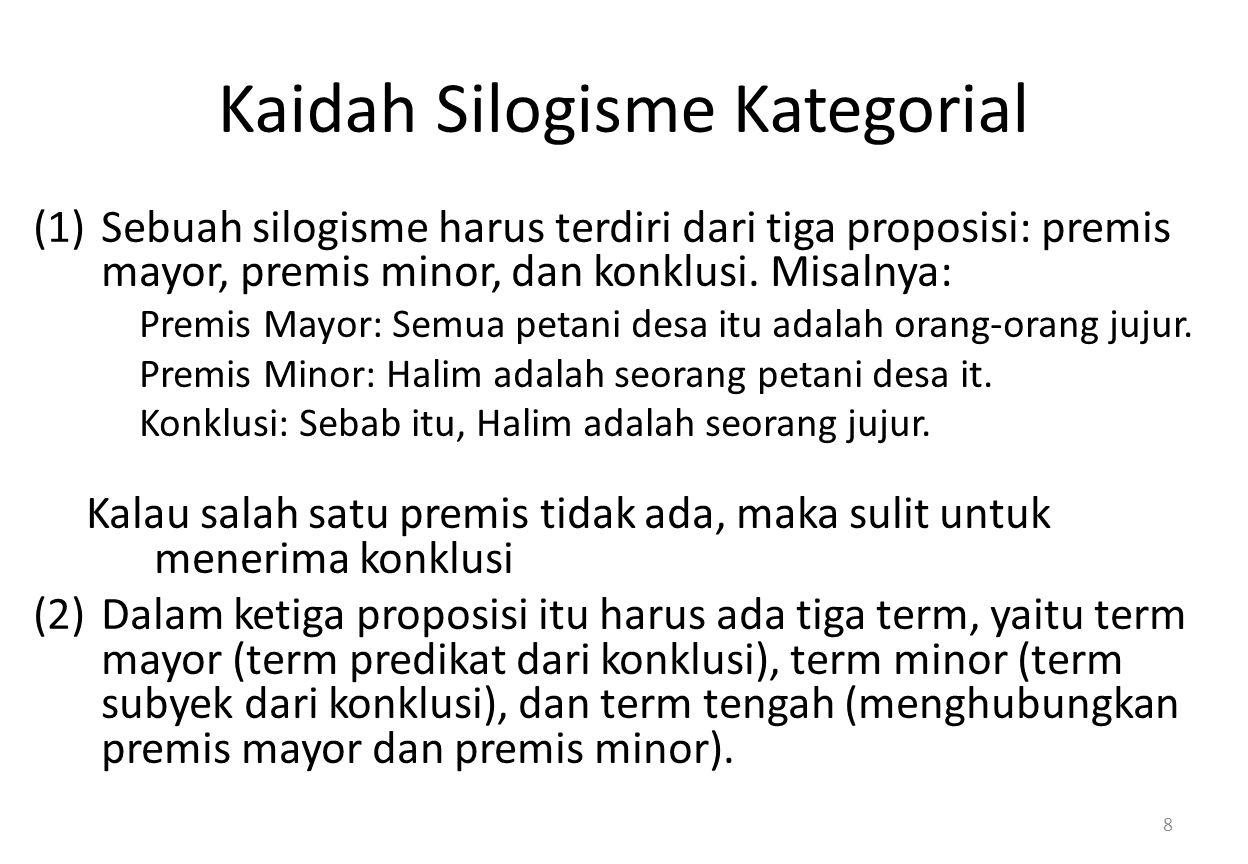 Kaidah Silogisme Kategorial (1)Sebuah silogisme harus terdiri dari tiga proposisi: premis mayor, premis minor, dan konklusi.