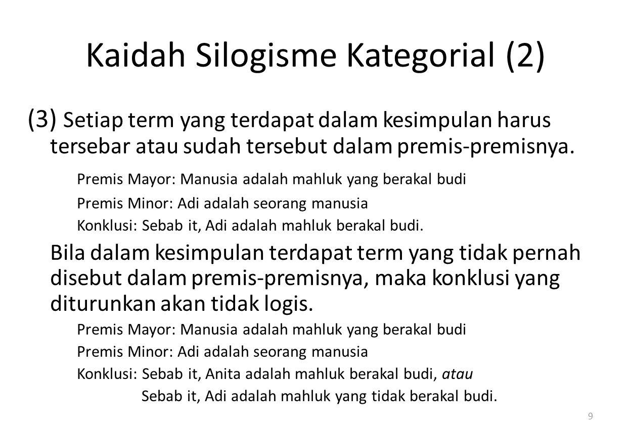 Kaidah Silogisme Kategorial (2) (3) Setiap term yang terdapat dalam kesimpulan harus tersebar atau sudah tersebut dalam premis-premisnya.