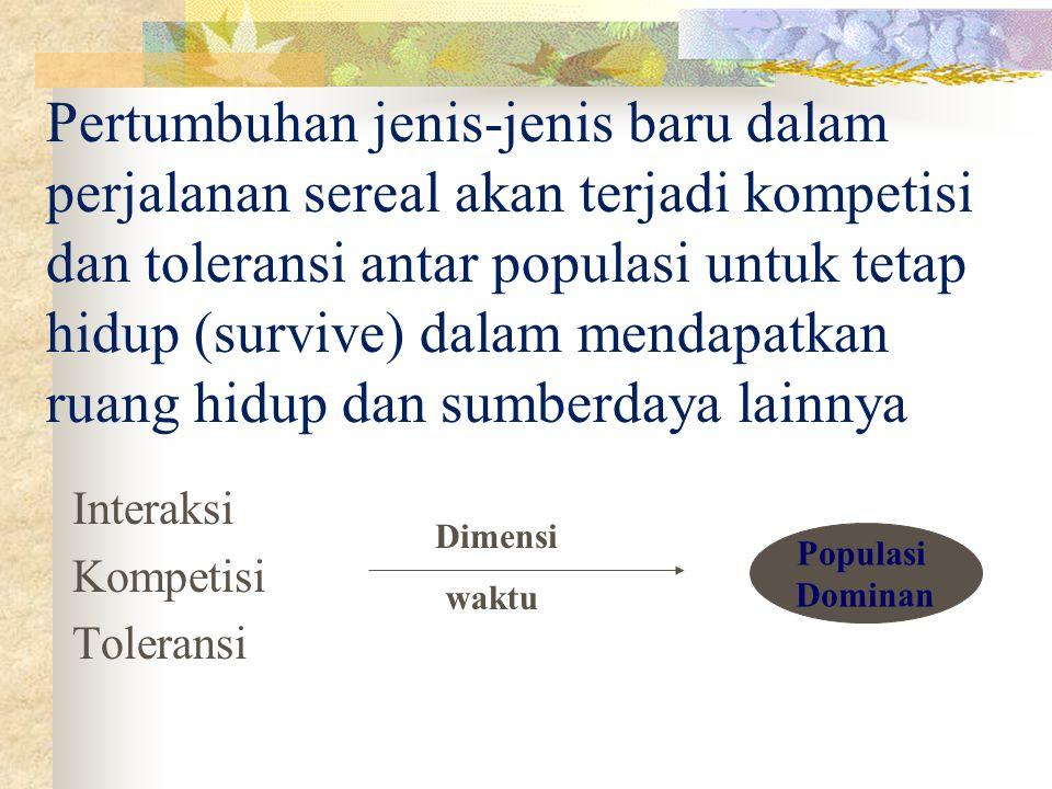 Interaksi Kompetisi Toleransi Populasi Dominan Dimensi waktu Pertumbuhan jenis-jenis baru dalam perjalanan sereal akan terjadi kompetisi dan toleransi