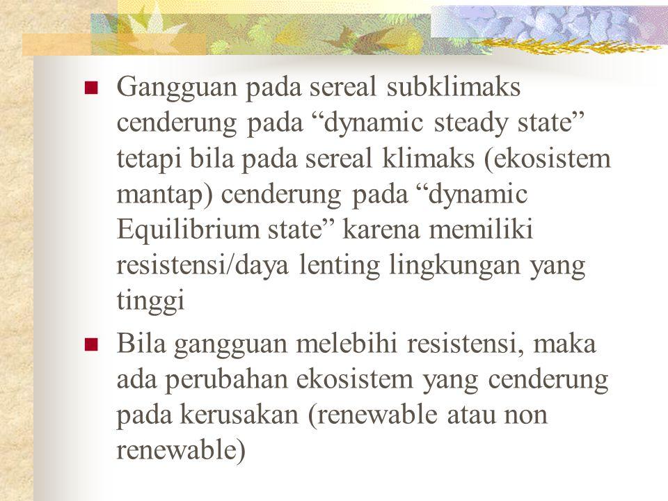"""Gangguan pada sereal subklimaks cenderung pada """"dynamic steady state"""" tetapi bila pada sereal klimaks (ekosistem mantap) cenderung pada """"dynamic Equil"""