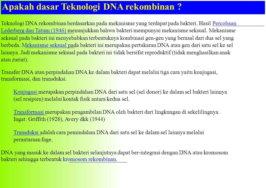 Apakah dasar Teknologi DNA rekombinan ? Teknologi DNA rekombinan berdasarkan pada mekanisme yang terdapat pada bakteri. Hasil PercobaanPercobaan Leder