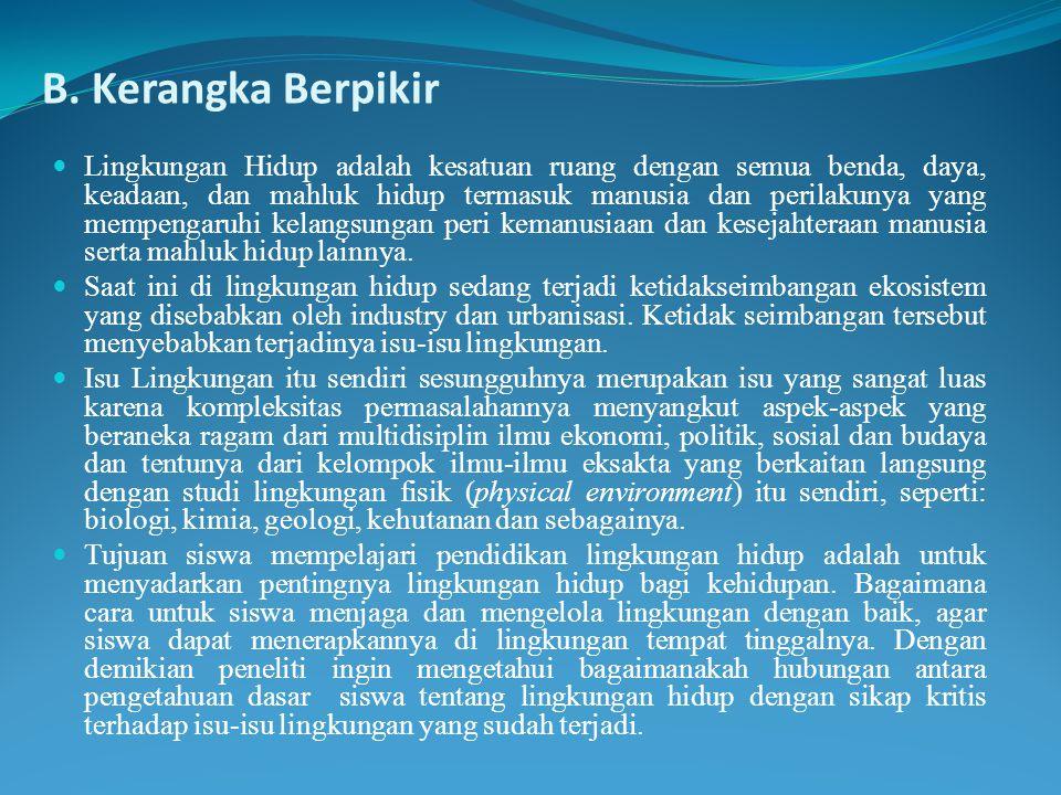 B. Kerangka Berpikir Lingkungan Hidup adalah kesatuan ruang dengan semua benda, daya, keadaan, dan mahluk hidup termasuk manusia dan perilakunya yang