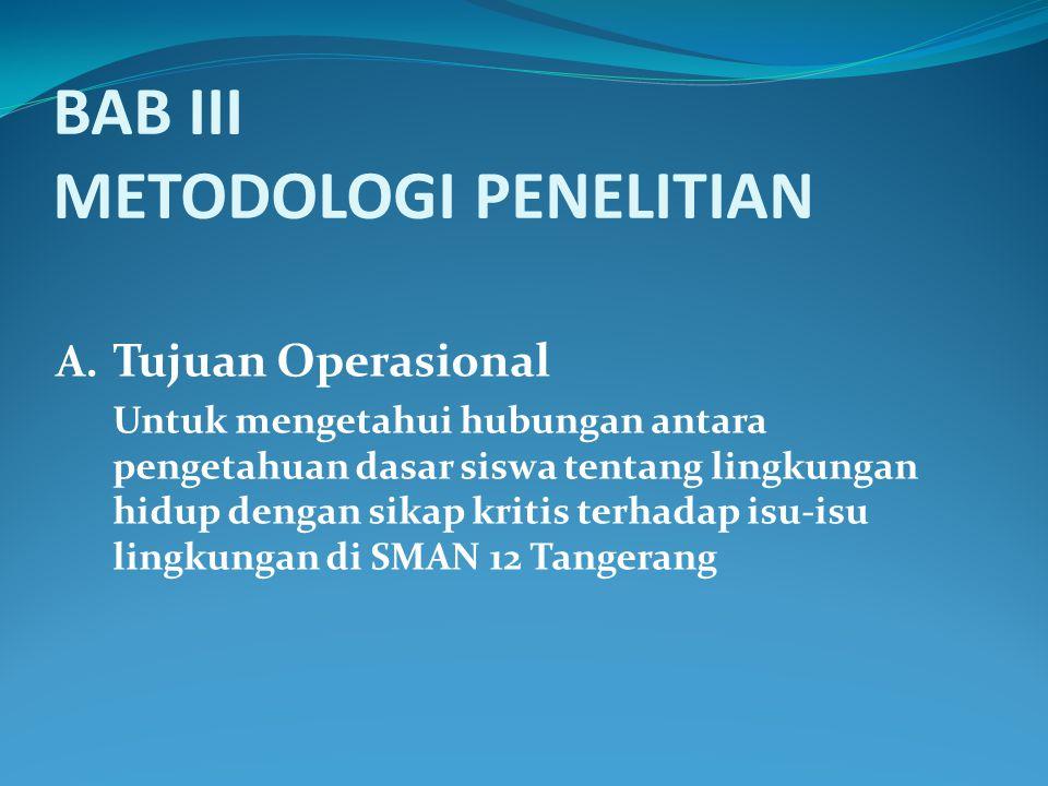 BAB III METODOLOGI PENELITIAN A. Tujuan Operasional Untuk mengetahui hubungan antara pengetahuan dasar siswa tentang lingkungan hidup dengan sikap kri
