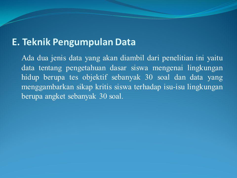 E. Teknik Pengumpulan Data Ada dua jenis data yang akan diambil dari penelitian ini yaitu data tentang pengetahuan dasar siswa mengenai lingkungan hid