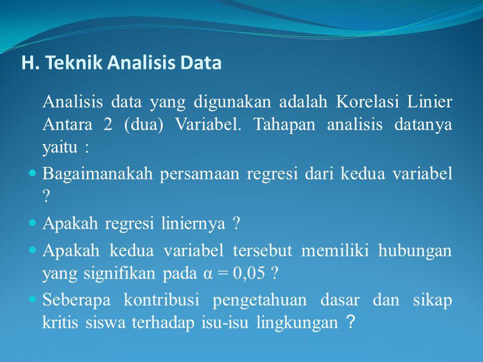 H. Teknik Analisis Data Analisis data yang digunakan adalah Korelasi Linier Antara 2 (dua) Variabel. Tahapan analisis datanya yaitu : Bagaimanakah per