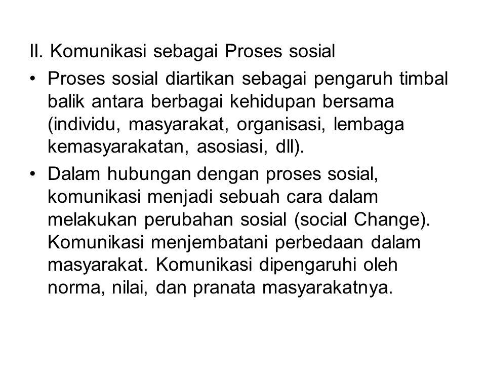 II. Komunikasi sebagai Proses sosial Proses sosial diartikan sebagai pengaruh timbal balik antara berbagai kehidupan bersama (individu, masyarakat, or