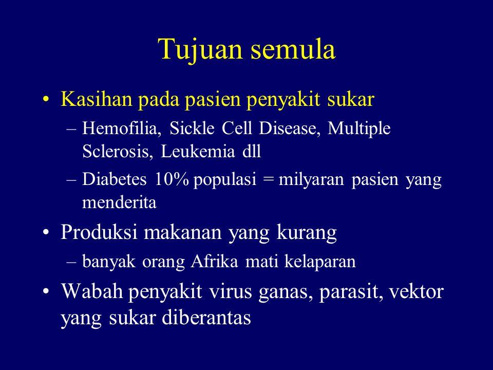 Tujuan semula Kasihan pada pasien penyakit sukar –Hemofilia, Sickle Cell Disease, Multiple Sclerosis, Leukemia dll –Diabetes 10% populasi = milyaran pasien yang menderita Produksi makanan yang kurang –banyak orang Afrika mati kelaparan Wabah penyakit virus ganas, parasit, vektor yang sukar diberantas