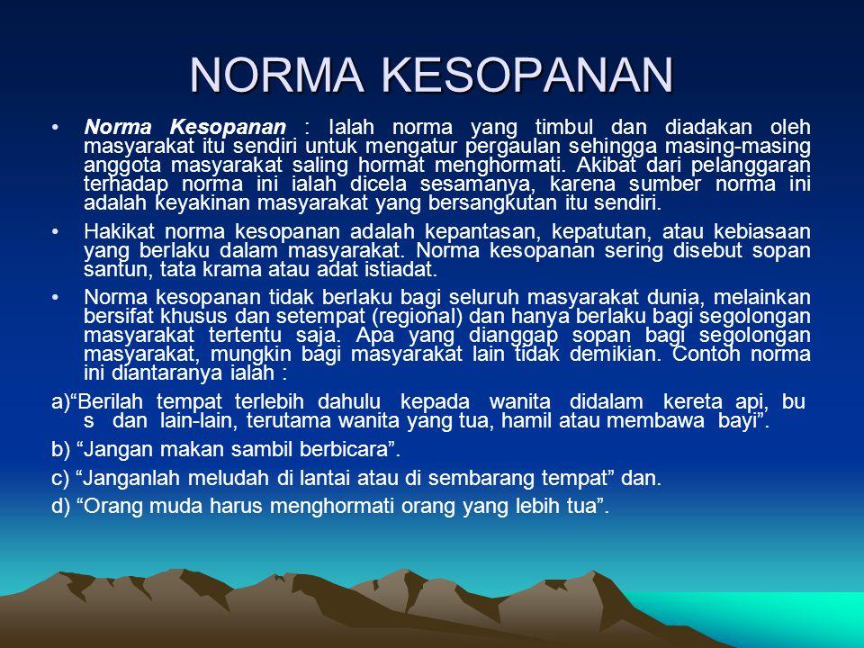 NORMA KESUSILAAN Norma Kesusilaan : Ialah peraturan hidup yang berasal dari suara hati sanubari manusia.