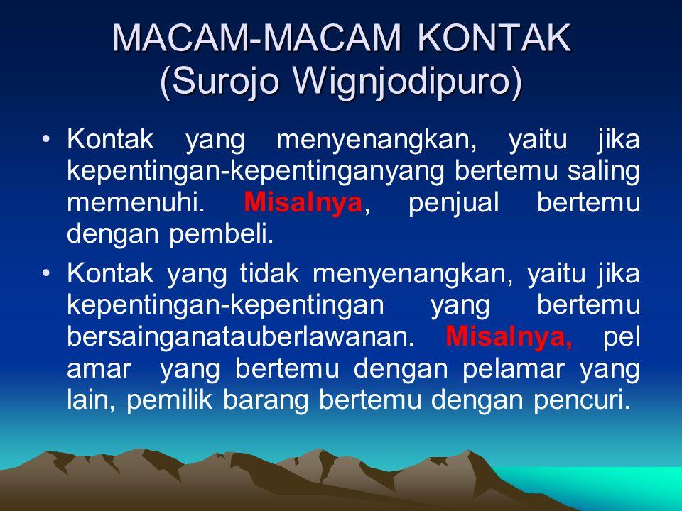 MACAM-MACAM KONTAK (Surojo Wignjodipuro) Kontak yang menyenangkan, yaitu jika kepentingan-kepentinganyang bertemu saling memenuhi.