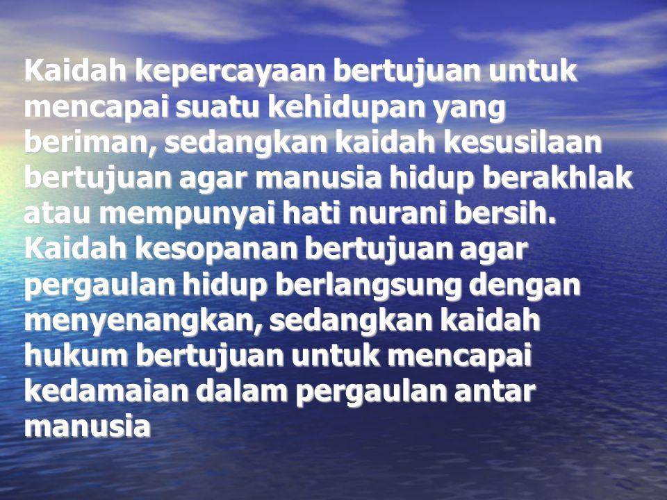 Kaidah Keyakinan (Agama) Yaitu ketentuan hidup yang berasal dari Tuhan YME, yang isinya berupa larangan, perintah-perintah dan ajaran.