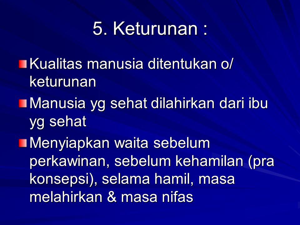 5. Keturunan : Kualitas manusia ditentukan o/ keturunan Manusia yg sehat dilahirkan dari ibu yg sehat Menyiapkan waita sebelum perkawinan, sebelum keh