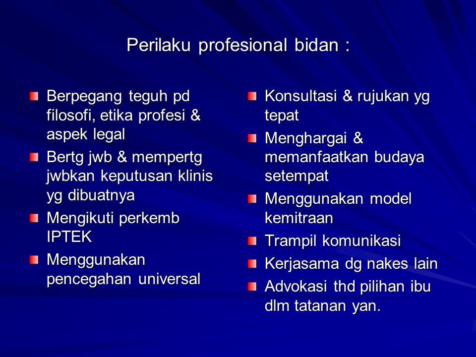 Perilaku profesional bidan : Berpegang teguh pd filosofi, etika profesi & aspek legal Bertg jwb & mempertg jwbkan keputusan klinis yg dibuatnya Mengik