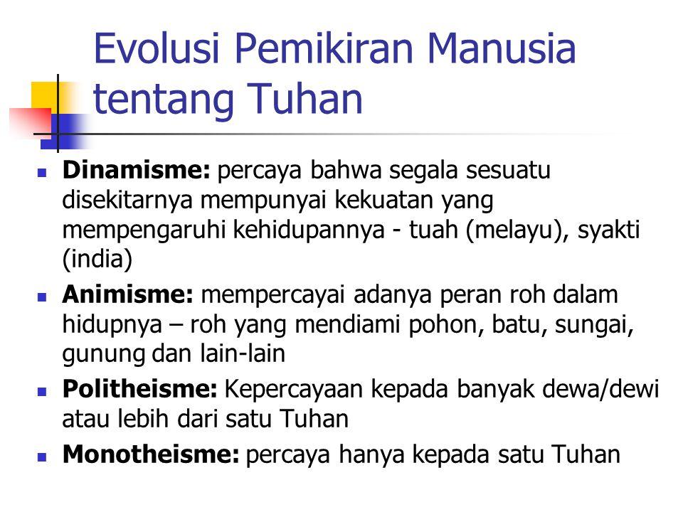 Evolusi Pemikiran Manusia tentang Tuhan Dinamisme: percaya bahwa segala sesuatu disekitarnya mempunyai kekuatan yang mempengaruhi kehidupannya - tuah