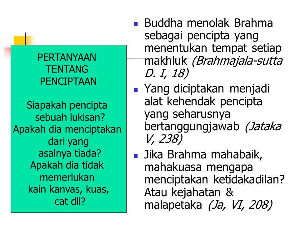 Buddha menolak Brahma sebagai pencipta yang menentukan tempat setiap makhluk (Brahmajala-sutta D. I, 18) Yang diciptakan menjadi alat kehendak pencipt