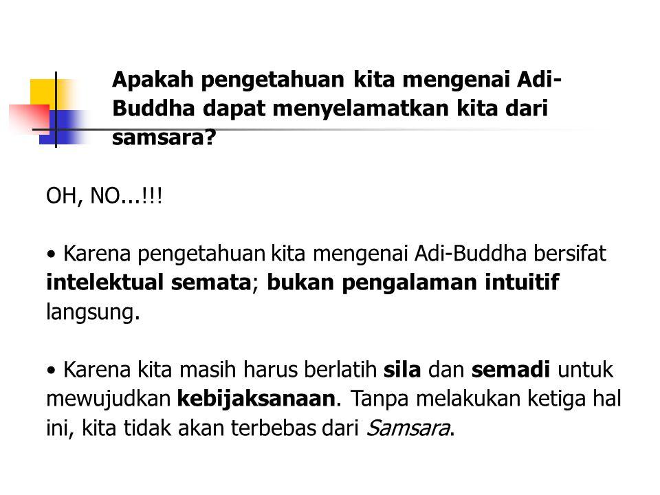 Apakah pengetahuan kita mengenai Adi- Buddha dapat menyelamatkan kita dari samsara? OH, NO...!!! Karena pengetahuan kita mengenai Adi-Buddha bersifat