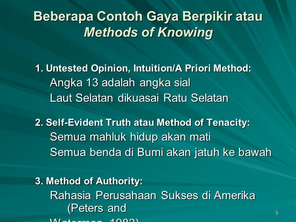 5 Beberapa Contoh Gaya Berpikir atau Methods of Knowing 1. Untested Opinion, Intuition/A Priori Method: Angka 13 adalah angka sial Laut Selatan dikuas