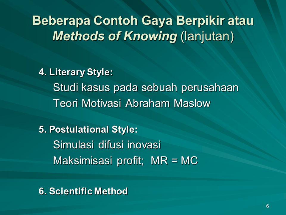 6 Beberapa Contoh Gaya Berpikir atau Methods of Knowing (lanjutan) 4. Literary Style: Studi kasus pada sebuah perusahaan Teori Motivasi Abraham Maslow
